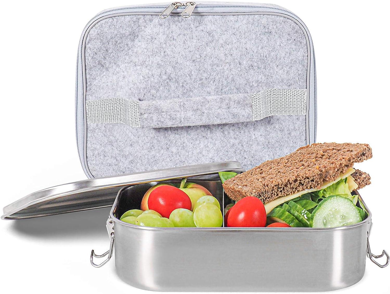 Gadgy Caja del Almuerzo de Acero Inoxidable | Gran Lunchbox Respetuosa con el Medio Ambiente | Adecuada para la Preparación de Comidas | Incluye Bolsa Aislante y Separador de Alimentos