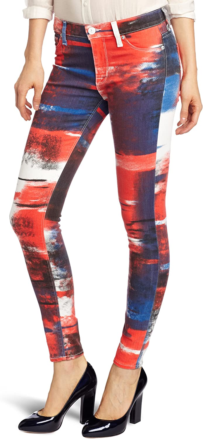 Hudson Jeans Women's 10th Anniversary Print Skinny Jean in Abstract Flag Print