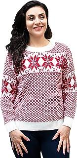 Sponsored Ad – YODNBUK Women's Winter Snowflake Christmas Jumper Long Sleeve Festive Knit Pullover Sweaters 8-14