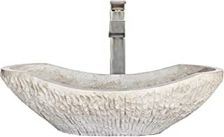 Chiseled Marble Bathroom Vessel Sink, Oval Canoe Shape, 100% Natural Stone, Hand Carved, Free Matching Soap Tray