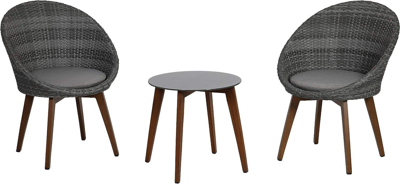 Greemotion Balkonmbel-Set Auckland, Sitzgruppe aus Aluminium, Polyethylengeflecht und Glas, Balkonset mit Tisch, zwei Stühlen und zwei Sitzkissen