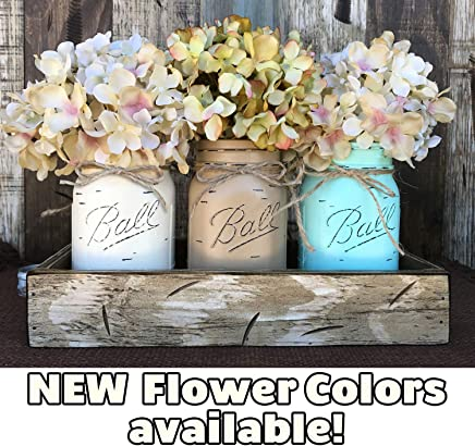 - Antique Red Antique Off-White River Rock Blue//Gray Mason Canning JARS in Rustic Wood DRAWER with 3 Ball Pint Jar Distressed Rustic Centerpiece with Hydrangea Daisy flowers optional