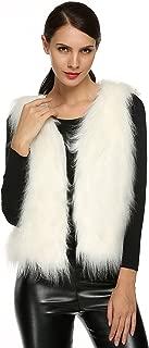 ACEVOG Lady Faux Fur Vest Waistcoat Long Hair Winter Warm Sleeveless Coat Outwear