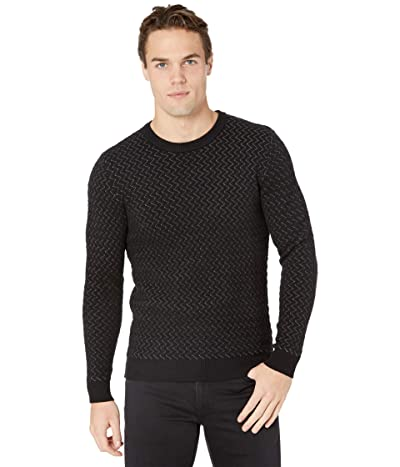 Selected Homme George Zigzag Crew Neck Sweater (Black) Men