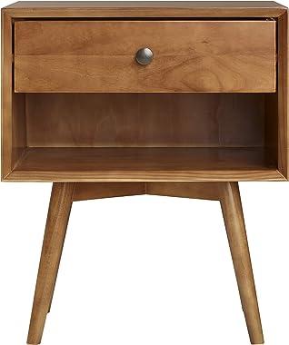 Walker Edison Mid Century Modern Wood Nightstand Side Table Bedroom Storage Drawer and Shelf Bedside End Table, 1 Drawer, Car