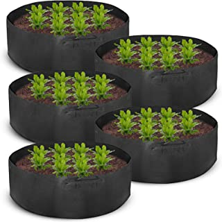 Mophorn 5-Pack 400 Gallon Plant Grow Bag Aeration Fabric Pots with Handles Black Grow Bag Plant Container for Garden Planting Washable and Reusable (5-Pack 400 Gallon)