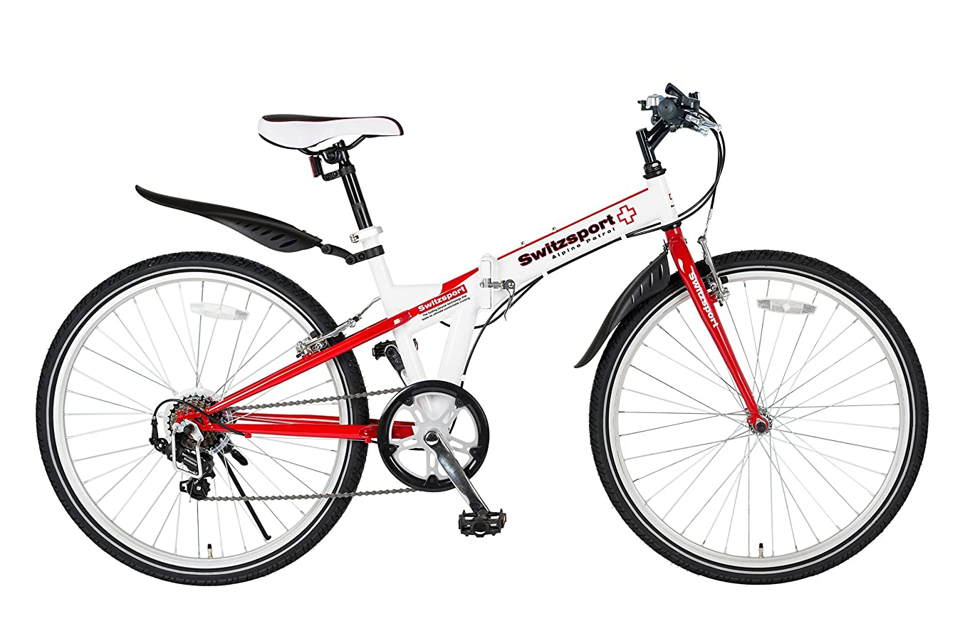 ネスト従順旅Switzsport-Tech(スウィツスポート-テック) SIERRE-II〔シエルII〕 クロスバイクタイプ26インチ折りたたみ自転車 〔SHIMANO Tourney 7段変速〕- 【White/Red】 MDL31015