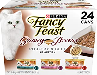 Purina Fancy Feast Gravy Wet Cat Food  Variety Pack; Gravy Lovers Poultry & Beef Feast Collection - (24) 3 oz. Cans