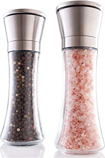 Gorgeous Salt And Pepper Grinder Set – Refillable Stainless Steel Shakers With..