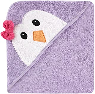 Luvable Friends Unisex Baby Cotton Animal Face Hooded Towel, Purple Penguin, One Size