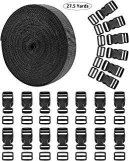 27.5 Yards Nylon Webbing Straps, 20 Set Plastic 1 Inch Flat Side Release Buckles with Tri-Glide Slides