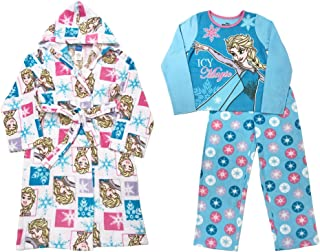 Girls Frozen Anna & Elsa Plush Bathrobe & 2 pc Fleece Pajama Set