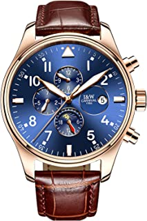 Men Pilot Automatic Mechanical Gilded Case Sapphire Glass Blue Dial Day Week Month 24/Hours Watches