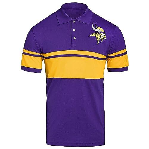 652c30ac FOCO NFL Mens Football Team Logo Cotton Stripe Polo Shirt