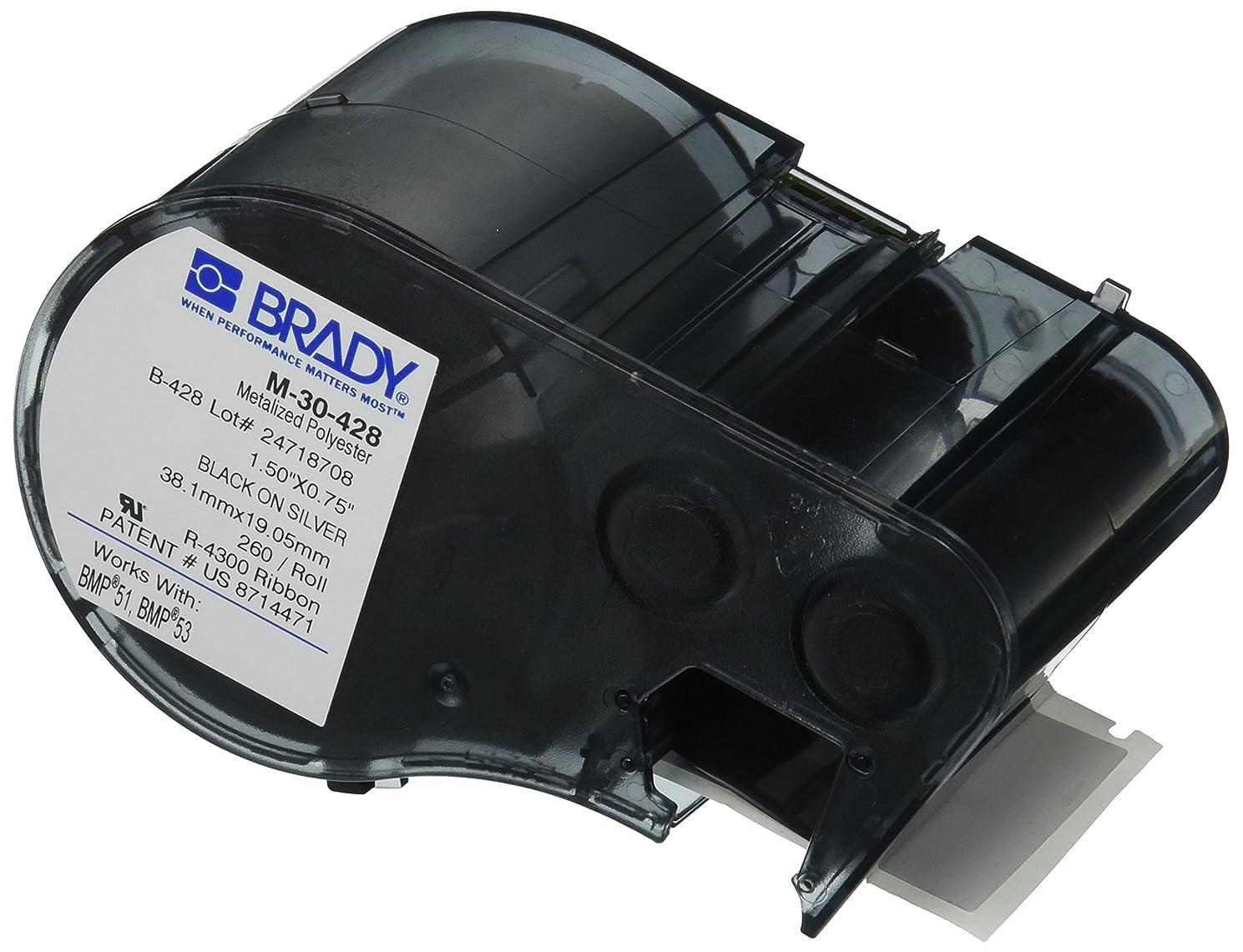 Brady M-30-428 Polyester B-428 Black on Silver Label Maker Cartridge, 3/4