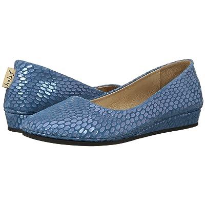 French Sole Zeppa Flat (Blue Julep Print) Women