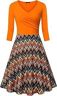 Women's Cross V Neck Dresses 3/4 Sleeve Flared A Line Dress