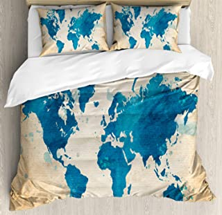 Ambesonne Map Duvet Cover Set, Vintage World Map with Watercolor Brushstrokes on Old Backdrop Print, Decorative 3 Piece Bedding Set with 2 Pillow Shams, Queen Size, Brown Navy