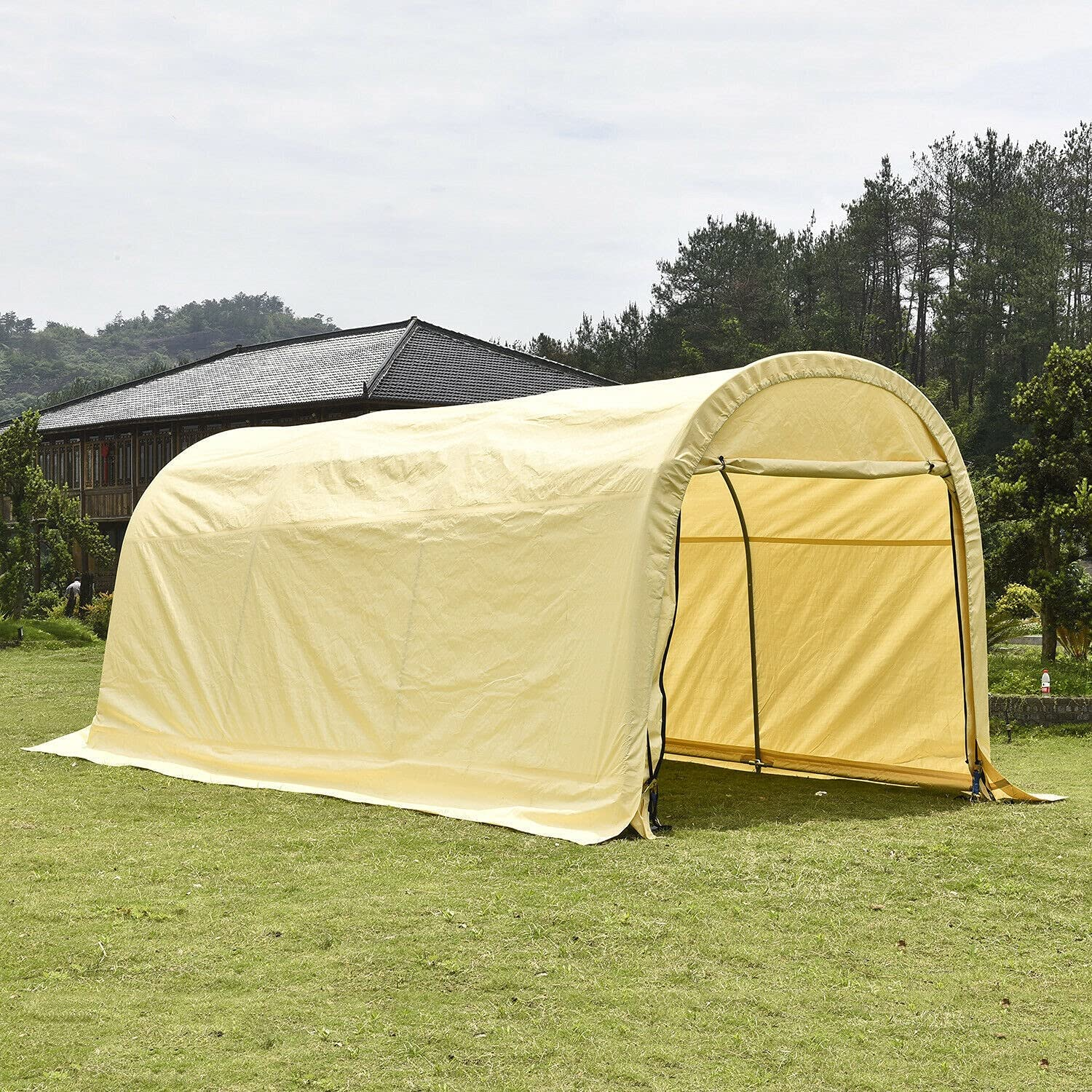HUIJK Storage Sheds 10'x20'x8' Beige Carport Canopy Tent New Year-end annual account life