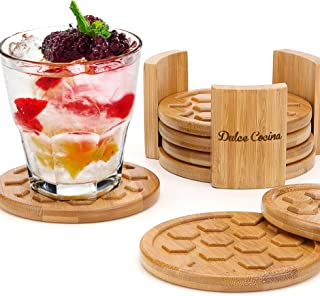 Coasters For Drinks 6 Pack - Round Bamboo Cup Mats Set of 6 Coaster In Elegant