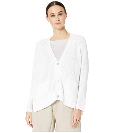 Eileen Fisher Organic Cotton V-Neck Cardigan (White) Women