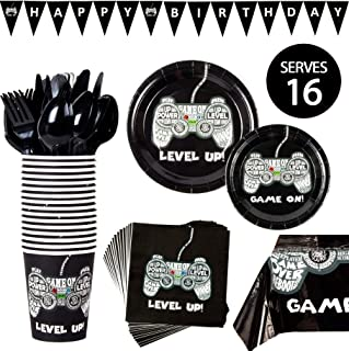 Video Game Party Supplies - Gamer Birthday Decorations Set Decor Gaming Controller Theme Pack - Includes: Big and Small Plates, Tablecloth, Banner, Cups, Napkins, Forks, Knives, Spoons (Serves 16)