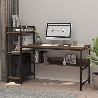 Dripex Bureau Informatique avec Etagères de Rangement, Table de Bureau d'Ordinateur pour Chambre Salon et Maison 136 x 60 ...