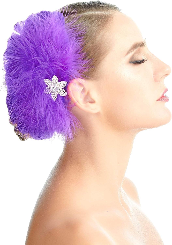 SACASUSA Feather Fascinator Flower Rhinestones Crystals Cocktail Headwear Hair Clip