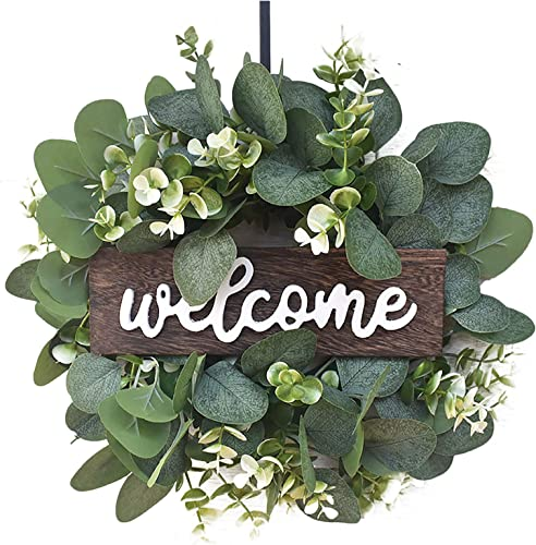 2021 OPTIMIIC Eucalyptus Wreath with Welcome Sign, Front Door Spring Wreath, Green Wreath, Farmhouse discount Decor Eucalyptus Wreath, Greenery Wreath Door Decorative Wreath, 11.8In, Multi wholesale Color outlet online sale