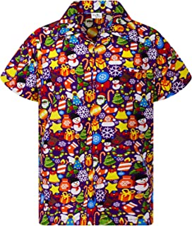Hawaiian Shirt for Men Funky Casual Button Down Very Loud Shortsleeve Unisex X-Mas Christmas Allover