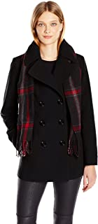 Women's Double Breasted Peacoat with Scarf