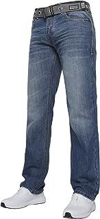 Crosshatch New Mens WAK New Straight Leg Dark Blue Jeans with Free Belt All Waist Sizes
