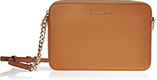 Michael Kors Jet Set Large Saffiano Leather Crossbody Bag-Brown