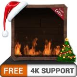 FREE Woody Fire Flames HD - Enjoy the Fireplace in Cooled Christmas Holidays in Winter on your HDR 4K TV, 8K TV and Fire Devices as a wallpaper & Theme for Mediation & Peace