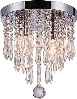 Riomasee Mini Chandelier Flush Mount Crystal Ceiling Light 2 Lights Crystal Light Fixtures for Bedroom,Bathroom,Girls Room,Cloakroom(Chrome)