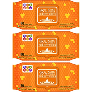 BeyBee Water Base Baby Wipes for Sensitive Skin (3 Pack 240 Water Wet Tissue for Baby Combo with Fliptop Lid