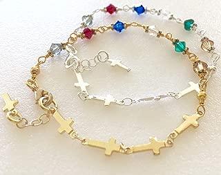 Salvation Bracelet, Christian Prayer Bracelet, Gospel Bracelet, Sideways Crosses, Swarovski Elements, Silver, Gold, Religious Bracelet.