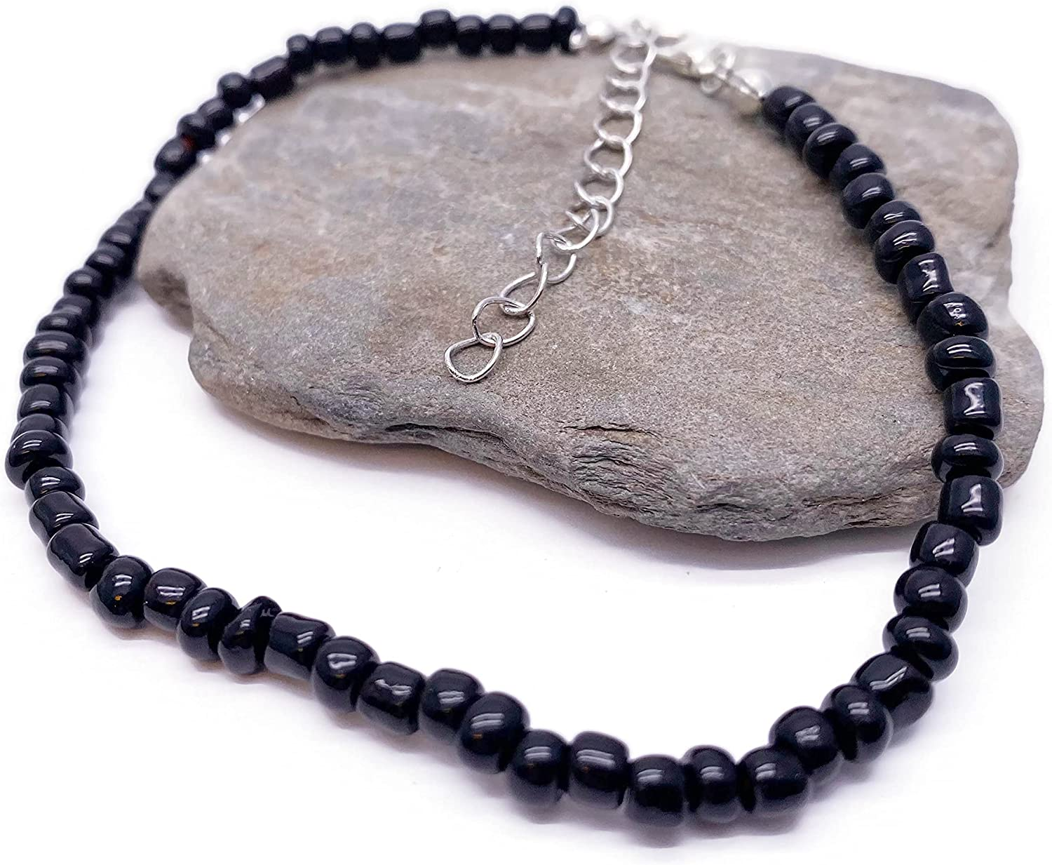 Anklet Plain Black Glass Seed Beads with Lobster Clasp : Adjustable 9-11 inches