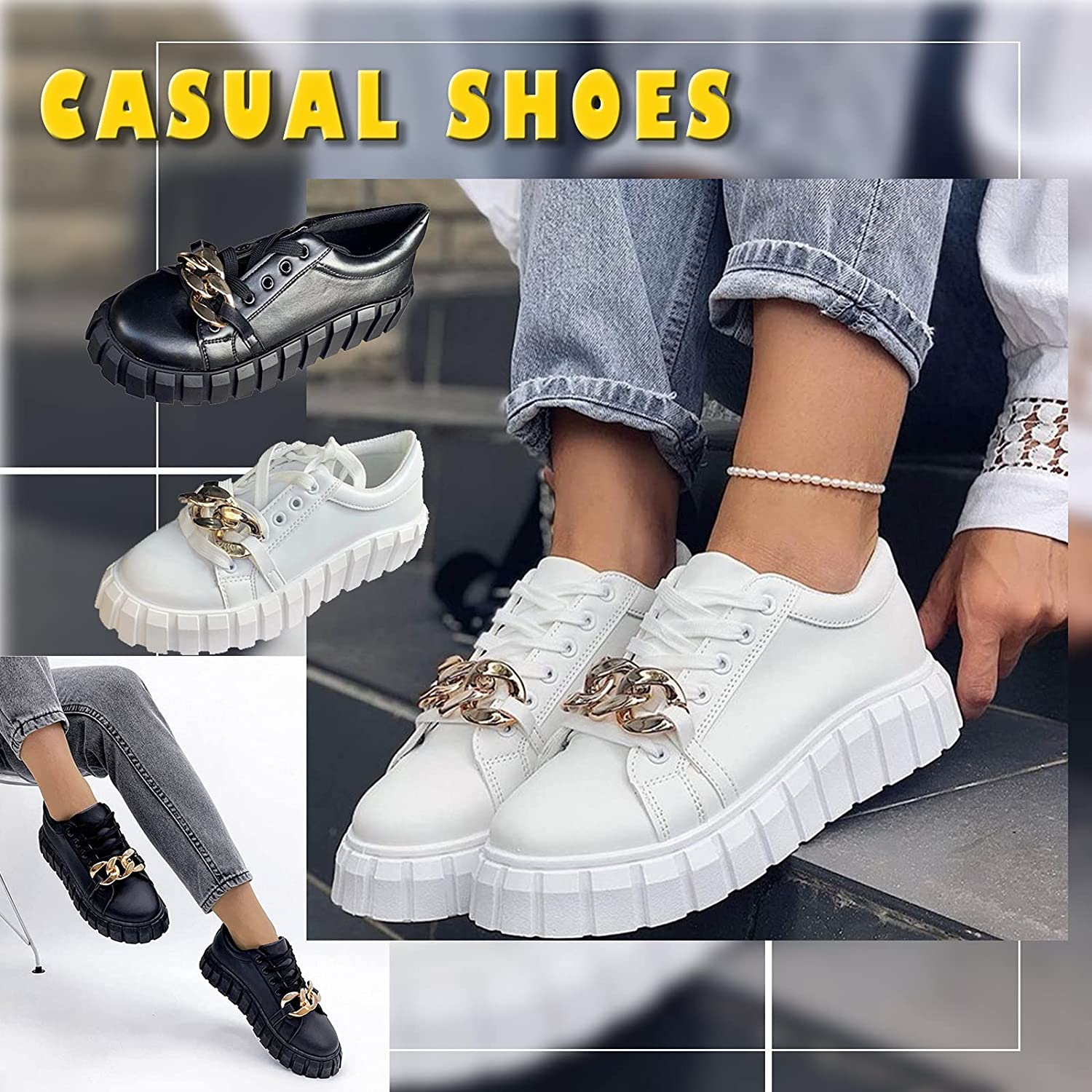 New Simple Comfortable Work Shoes For Women Running Shoes No-Slip Solid Color Outdoor Womens Walking Metal Chain Casual Shoes Round Toe Platform Sponge Cake Lace Up Single Shoe Students Shoes