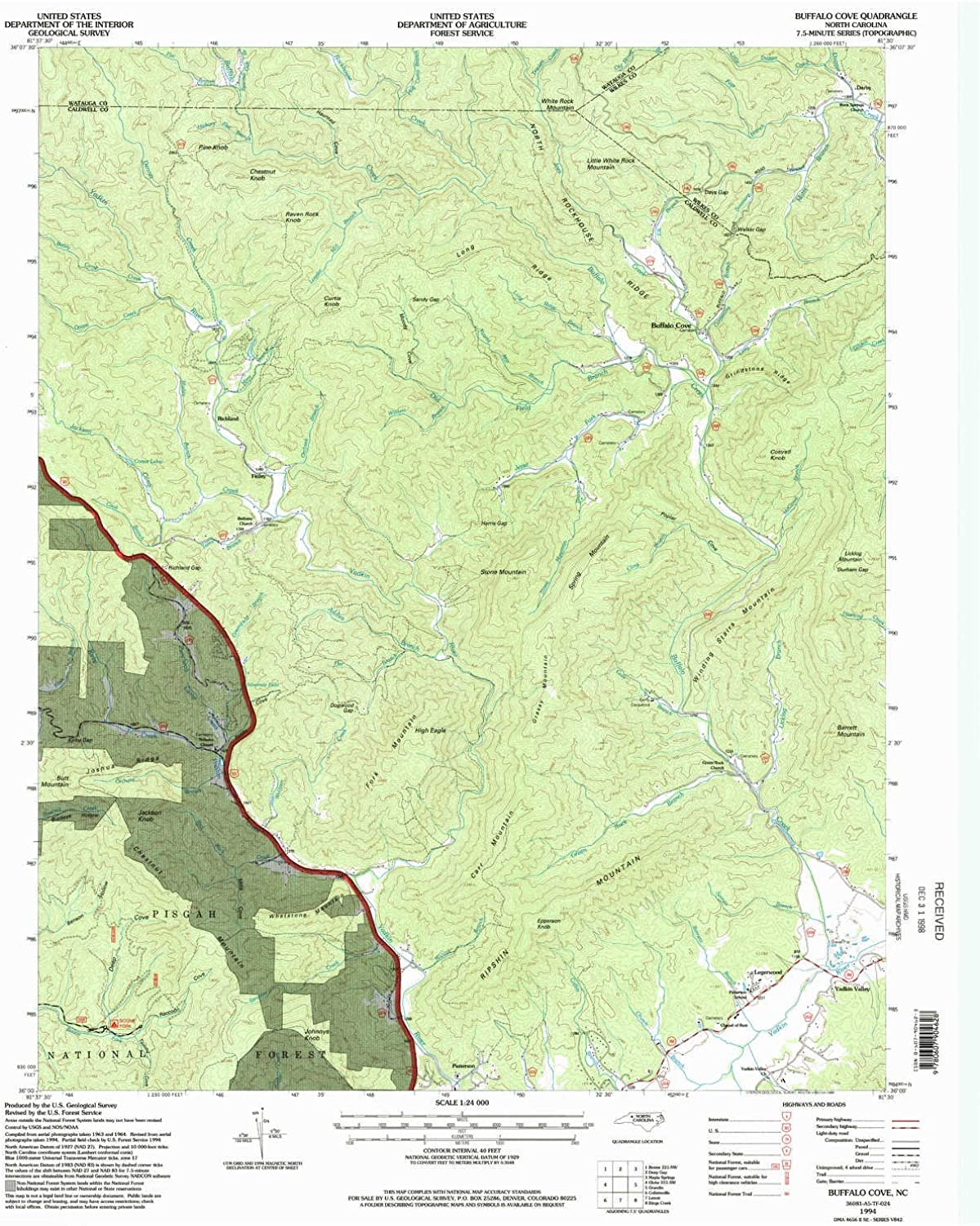 Buffalo Cove NC topo map, 1 24000 Scale, 7.5 X 7.5 Minute, Historical, 1994, Updated 1998, 26.9 x 22 in