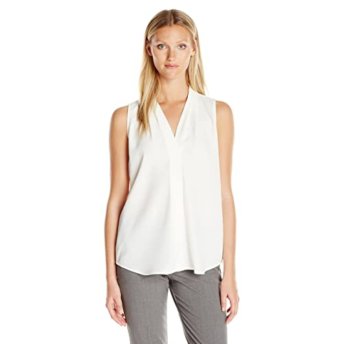 2a76bfe328510b Calvin Klein Women s Sleeveless Blouse with Inverted Pleat