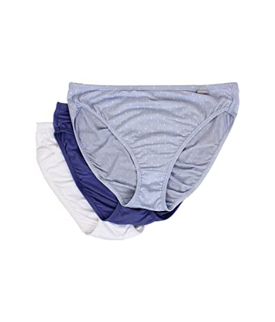 Jockey Elance(r) Supersoft French Cut 3-Pack (Oblong Dot/Blue Orion/White) Women