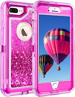 Coolden Case for iPhone 8 Plus Case Protective Glitter Case for Women Girls Cute Bling Sparkle 3D Quicksand Heavy Duty Hard Shell Shockproof TPU Case for iPhone 6s Plus 7 Plus 8 Plus, Rose