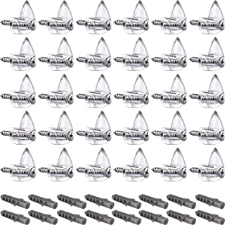 Tatuo Clear Plastic Mirror Holder Clips, Mirror Hanging Kit for Wall (20 Pieces, Style B)