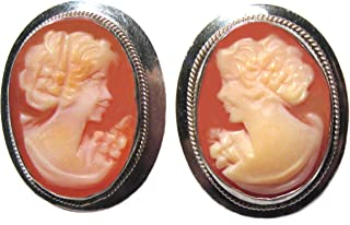 Earrings Post Back Master-Carved Carnelian Conch Shell Cameo Italian Original