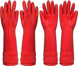 دستکش تمیز کردن ظرفشویی آشپزخانه لاستیکی - دستکش خانگی متوسط قابل استفاده در آب برای شستن ظرف ، خانه ، حمام ، باغبانی ، لباسشویی ، 2 جفت (4 دستکش)