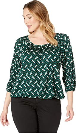Plus Size Multi Chevron Peasant Top