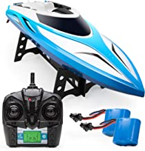 Force1 Velocity RC Boat - H102 Remote Control Boats for Pools and Lakes, 20+ mph High Speed Boat Toys (Blue)