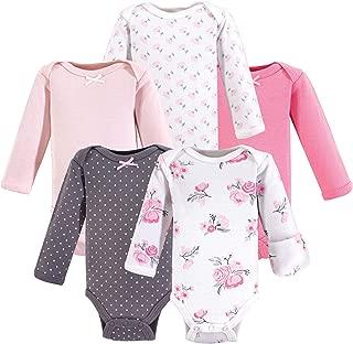 Hudson Baby Unisex Baby Cotton Preemie Bodysuits, Basic Pink Floral Long-Sleeve, Preemie