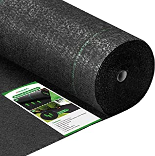 Amagabeli 5.8oz 3ft x 100ft Weed Barrier Landscape Fabric Heavy Duty Ground Cover Weed Cloth Geotextile Fabric Durable Dri...